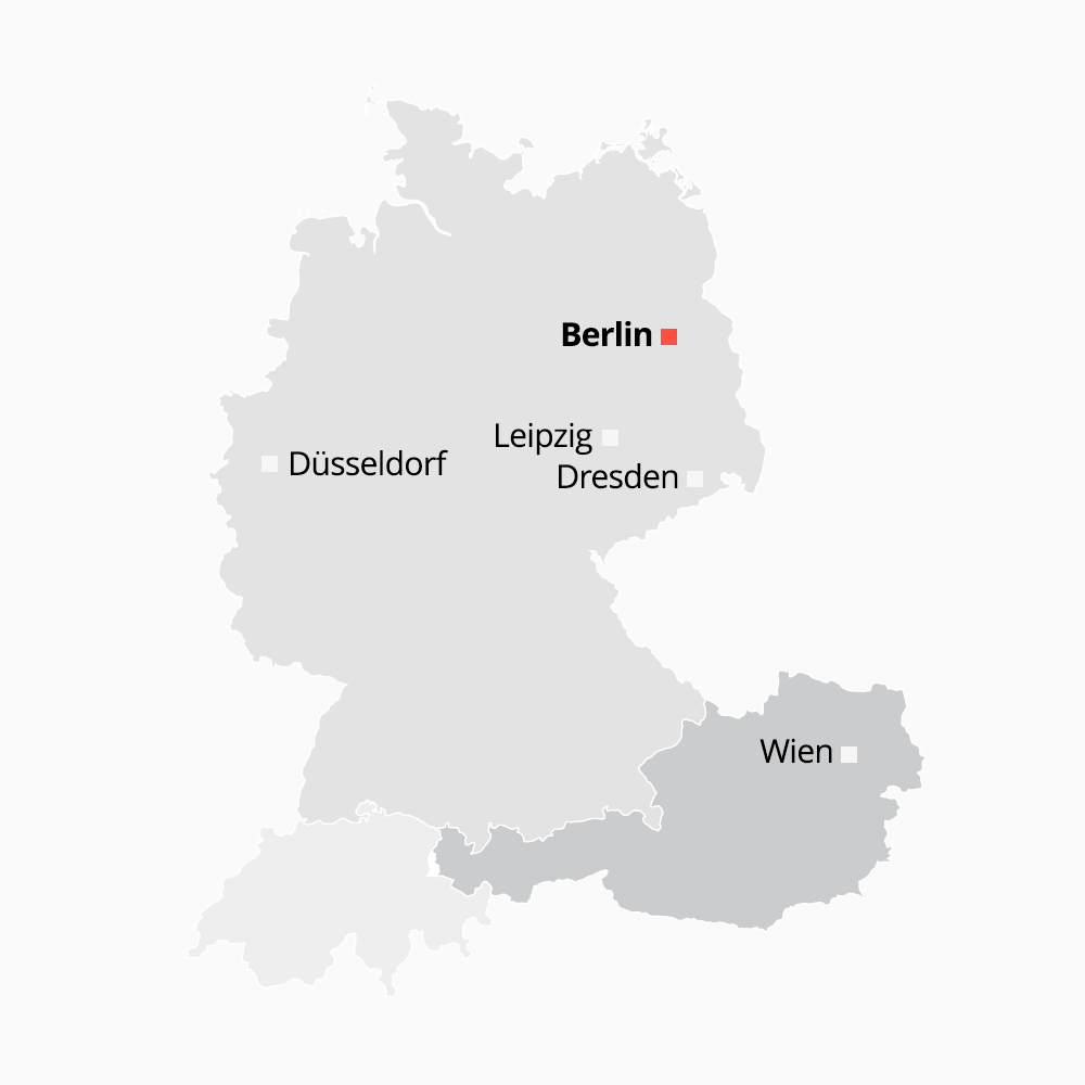 Karte der GLOBALGOLD Standorte in DACH