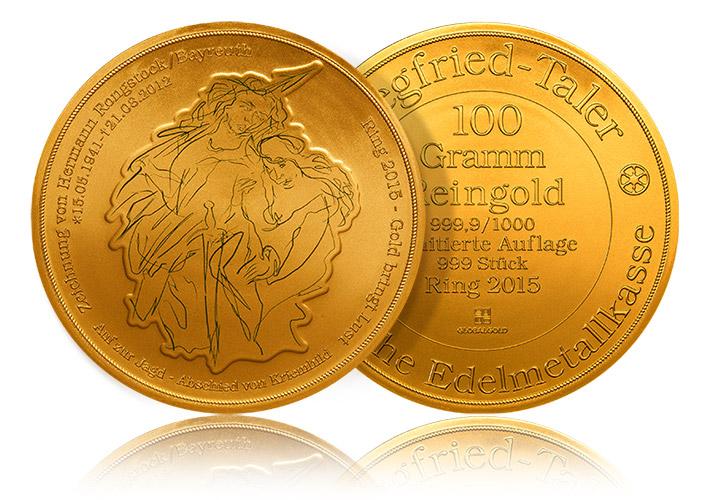 100 gramm Siegfriedtaler Goldmünze global Gold